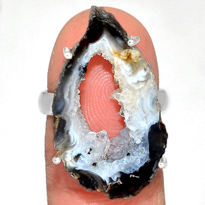 Geode Druzy 925 Sterling Silver Ring Jewelry s.7 GODR318