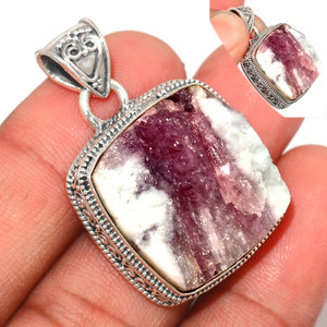 13g Pink Tourmaline in Quartz 925 Sterling Silver Pendant  Jewelry PTQP275