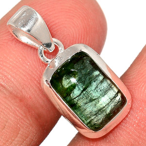 Green Tourmaline Cab 925 Sterling Silver Pendant  Jewelry TUCP59