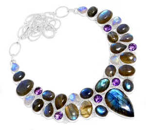 81g Blue Labradorite & Moonstone 925 Silver Cluster Necklace Jewelry RNE1664