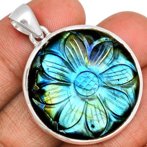 18g Carved Multi Fire Labradorite 925 Sterling Silver Pendant  Jewelry CLBP344