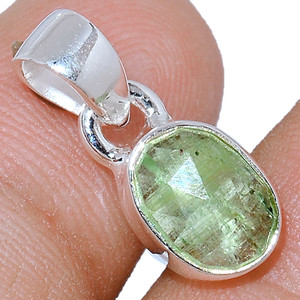 Faceted Green Kyanite 925 Sterling Silver Pendant  Jewelry GKFP63