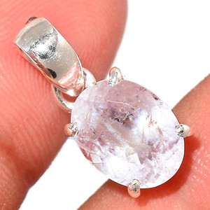 Faceted Morganite 925 Sterling Silver Pendant  Jewelry MGFP184