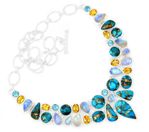 72g Blue Copper Turquoise 925 Sterling Silver Cluster Necklace Jewelry RNE1704