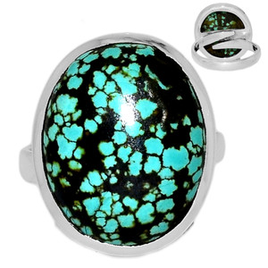 Adjustable Ring - TibetanTurquoise 925 Silver Ring Jewelry s.7.5 TQSR2020