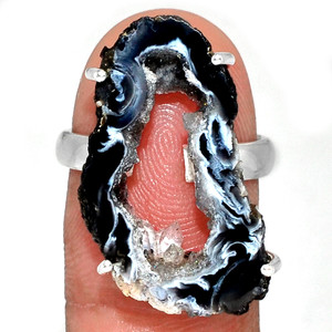 Geode Druzy 925 Sterling Silver Ring Jewelry s.7.5 GODR304