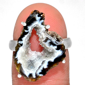 Geode Druzy 925 Sterling Silver Ring Jewelry s.6.5 GODR307