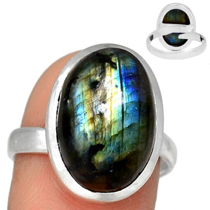 Adjustable Ring - Multi Fire Labradorite 925 Silver Ring Jewelry s.9 MFLR570