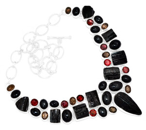 92g Black Tourmaline Rough 925 Sterling Silver Cluster Necklace Jewelry RNE1696