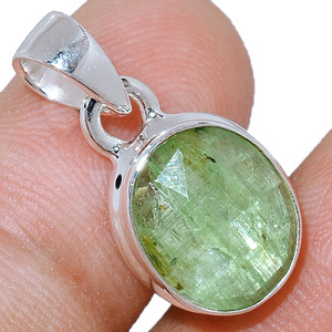 Faceted Green Kyanite 925 Sterling Silver Pendant  Jewelry GKFP62