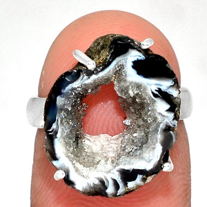 Geode Druzy 925 Sterling Silver Ring Jewelry s.5.5 GODR319