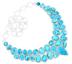 93g Larimar - Dominican Republic 925 Silver Cluster Necklace Jewelry RNE1685