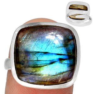 Adjustable Ring - Multi Fire Labradorite 925 Silver Ring Jewelry s.7.5 MFLR565