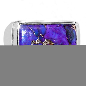 Copper Purple Turquoise 925 Sterling Silver Ring Jewelry s.7.5 PCTR464
