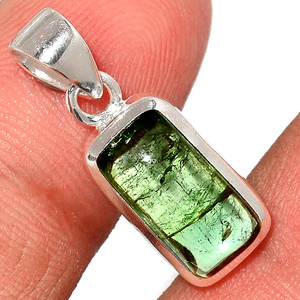 Green Tourmaline Cab 925 Sterling Silver Pendant  Jewelry TUCP62