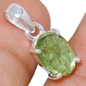 Faceted Green Kyanite 925 Sterling Silver Pendant  Jewelry GKFP48