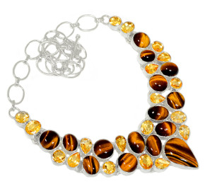 80g Tiger Eye & Citrine 925 Sterling Silver Cluster Necklace Jewelry RNE1653