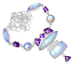 58g Blue Fire Rainbow Moonstone 925 Silver Cluster Necklace Jewelry RNE1713