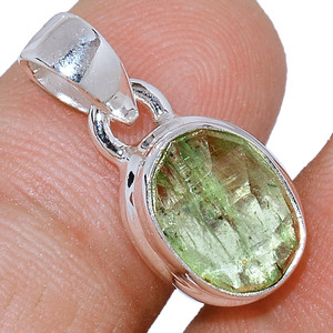 Faceted Green Kyanite 925 Sterling Silver Pendant  Jewelry GKFP43