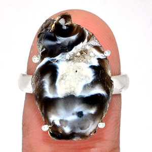 Geode Druzy 925 Sterling Silver Ring Jewelry s.8 GODR317