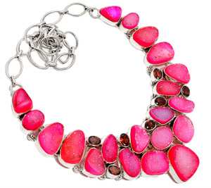 107g Pink Agate Druzy & Garnet 925 Silver Cluster Necklace Jewelry RNE1609