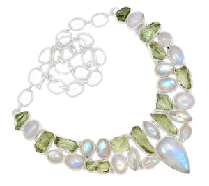 94g Rainbow Moonstone 925 Sterling Silver Cluster Necklace Jewelry RNE1646