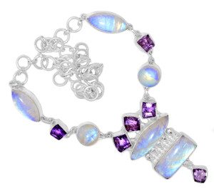 50g Blue Fire Rainbow Moonstone 925 Silver Cluster Necklace Jewelry RNE1718