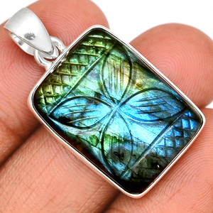 13g Carved Multi Fire Labradorite 925 Sterling Silver Pendant  Jewelry CLBP355