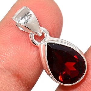 Faceted Garnet 925 Sterling Silver Pendant  Jewelry GNFP236