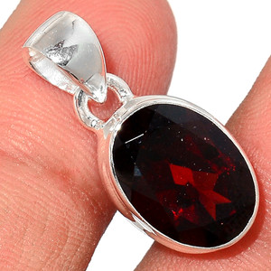 Faceted Garnet 925 Sterling Silver Pendant  Jewelry GNFP248