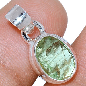 Faceted Green Kyanite 925 Sterling Silver Pendant  Jewelry GKFP38