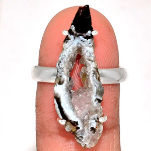 Geode Druzy 925 Sterling Silver Ring Jewelry s.8 GODR301