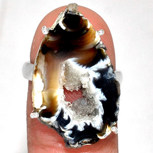 Geode Druzy 925 Sterling Silver Ring Jewelry s.7 GODR324