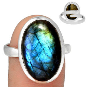 Adjustable Ring - Multi Fire Labradorite 925 Silver Ring Jewelry s.10.5 MFLR569