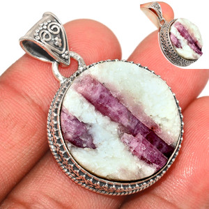 13g Pink Tourmaline in Quartz 925 Sterling Silver Pendant  Jewelry PTQP274