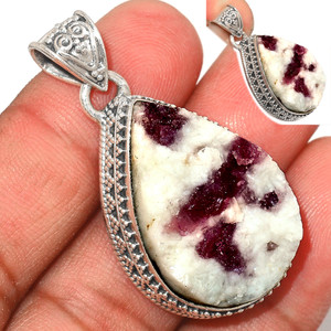 12g Pink Tourmaline in Quartz 925 Sterling Silver Pendant  Jewelry PTQP280