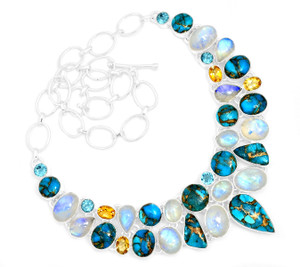 76g Blue Copper Turquoise 925 Sterling Silver Cluster Necklace Jewelry RNE1706