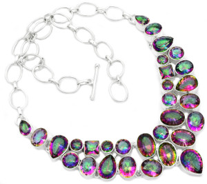 76g Rainbow Topaz 925 Sterling Silver Cluster Necklace Jewelry RNE1520