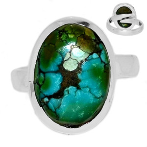 Adjustable Ring - TibetanTurquoise 925 Silver Ring Jewelry s.6.5 TQSR2034
