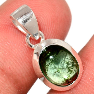 Green Tourmaline Cab 925 Sterling Silver Pendant  Jewelry TUCP74