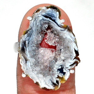 Geode Druzy 925 Sterling Silver Ring Jewelry s.7 GODR310