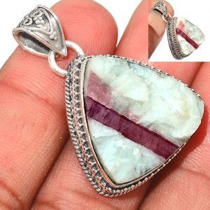 12g Pink Tourmaline in Quartz 925 Sterling Silver Pendant  Jewelry PTQP286