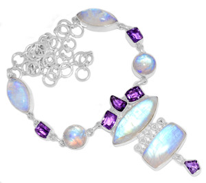 53g Blue Fire Rainbow Moonstone 925 Silver Cluster Necklace Jewelry RNE1717