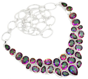 80g Rainbow Topaz 925 Sterling Silver Cluster Necklace Jewelry RNE1590