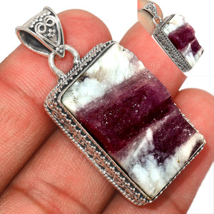 15g Pink Tourmaline in Quartz 925 Sterling Silver Pendant  Jewelry PTQP279