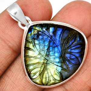 Carved Multi Fire Labradorite 925 Sterling Silver Pendant  Jewelry CLBP315