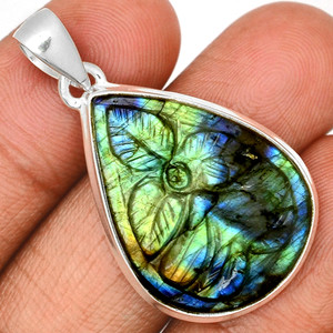 Carved Multi Fire Labradorite 925 Sterling Silver Pendant  Jewelry CLBP354