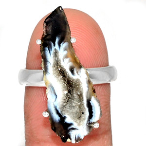 Geode Druzy 925 Sterling Silver Ring Jewelry s.8 GODR323