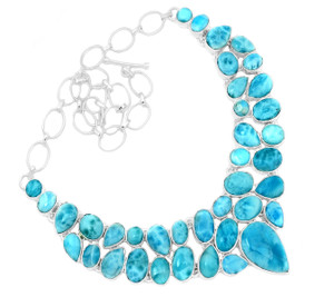 95g Larimar - Dominican Republic 925 Silver Cluster Necklace Jewelry RNE1690