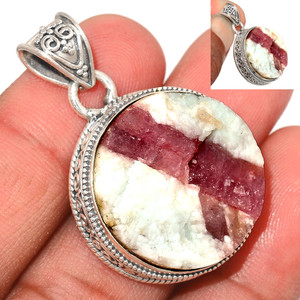 13g Pink Tourmaline in Quartz 925 Sterling Silver Pendant  Jewelry PTQP290